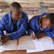 Welding students Liberty Chiwawa and Paddington Miryngweni in a theory class at Domboshawa Mobile Skills Training (Zim)