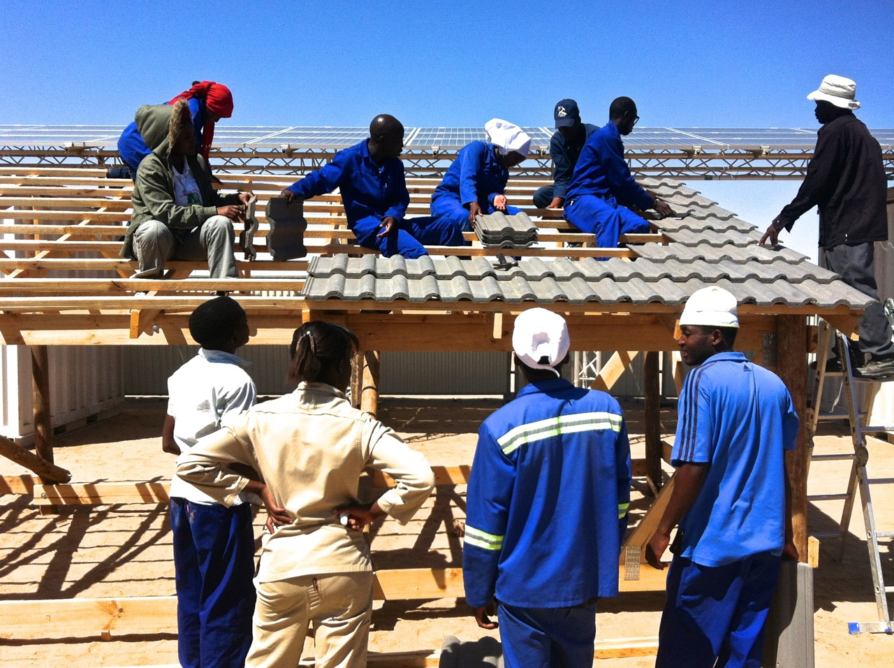 Building the simulation roof at Young Africa Namibia's Solar Technology Skills Training Centre Photo Credit: Young Africa Namibia