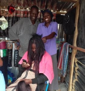 Zvanyadza Chitema at her hair salon in Epworth (Photo: Tendai Mudyarabikwa)