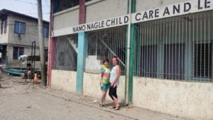 Alison McCarthy and Louise Lordan outside the Nano Nagle Child Care and Learning Centre