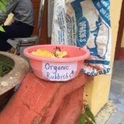 "PHOTO: Rachel Lynch A bin labelled ""Organic Rubbish"" in the school here in Hai Duong. I didn't expect people in Vietnam to be aware of or trying to implement recycling or composting, but from this picture you can see that some people are aware."